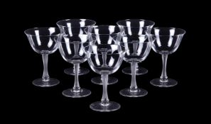 Lalique, Crystal Lalique, Barsac, a set of fourteen small clear and frosted, champagne cups