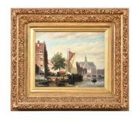 Johannes Frederik Hulk (Dutch 1829-1911), A Dutch canal scene, possibly with Sint Bavokerk Church