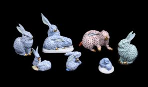 A group of modern Herend (Blue, red, and green fishscale) rabbits