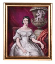 An English porcelain plaque painted with a portrait of a seated woman