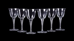 Lalique, Cristal Lalique, Treves, a clear glass table service of wine glasses,