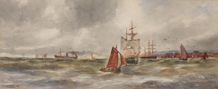 William Cannon (British 19th century), Ships at sea with port beyond