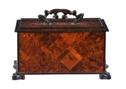 A Victorian burr hardwood and ebonised box