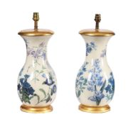 A pair of modern reverse-glass printed botanical baluster lamp bases