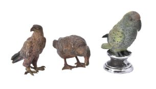 A group of cold painted bronze figures of birds