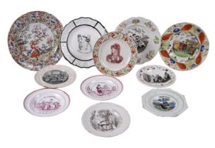 Ten various Staffordshire pottery printed children's plates