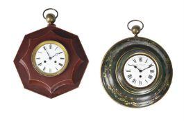 A French red tole-peinte octagonal sedan wall clock