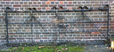 A pair of black painted iron gates