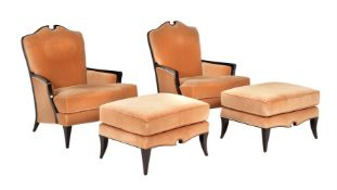 A suite of lacquered Christopher Guy seat furniture in caramel upholstery