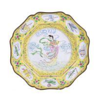 A Chinese enamel yellow-ground dish