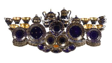 A modern Lindner Bavaria and associated pieces blue and gilt porcelain composite part tea and coffee
