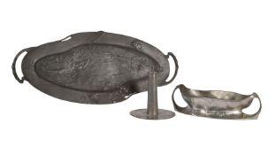 Three items of Art Nouveau metalware