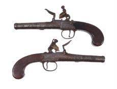 A pair Ketland and Co. flintlock cannon-barrelled box lock pocket pistols