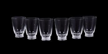 Lalique, Crystal Lalique, a set of six clear and frosted glass tumblers