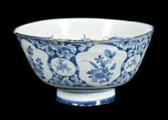 An English delft blue and white punch bowl