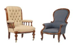 A Victorian mahogany and upholstered armchair