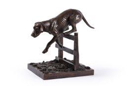 λ Sally Arnup FRBS, ARCA (1930-2015), a patinated bronze of a hound jumping a fence