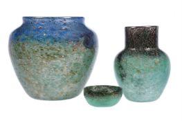 Three items of Monart glass