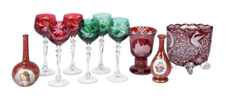 A selection of Bohemian and Czech coloured glass