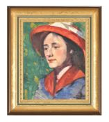 English School (20th century), Portrait of a lady wearing a red hat