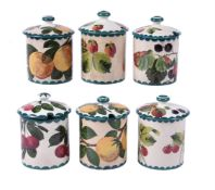 Six various Wemyss pottery preserve jars and covers