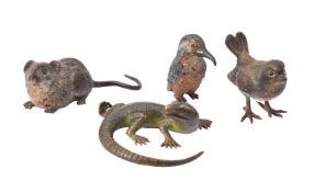 A group of cold painted bronze figures of animals
