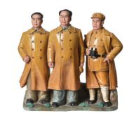 A glazed pottery group of Chairman Mao and attendants
