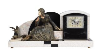 A French Art Deco alabaster and spelter mantel clock