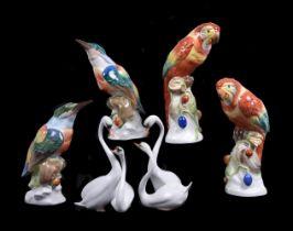 A selection of modern Herend porcelain birds