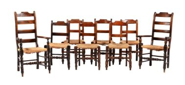 A harlequin set of eight kitchen or dining chairs