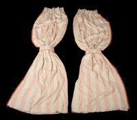A pair of curtains, recently manufactured from Ralph Lauren Monroe Stripe pattern fabric