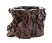A rare Chinese carved aloeswood brush pot