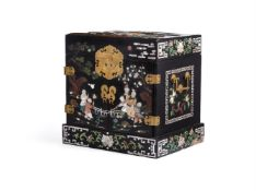 Y A Chinese inlaid black lacquered wooden cabinet