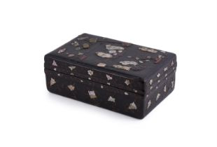 A Chinese black lacquer inlaid box and cover
