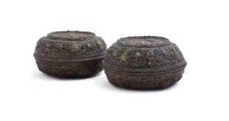 Two Tibetan parcel-gilt copper incense burners and covers