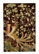 A large Chinese lacquered 'Phoenix' panel