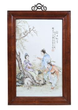 A Chinese famille rose porcelain plaque by Wei Rongsheng