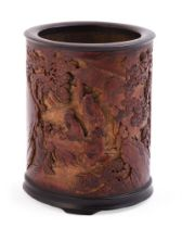 A Chinese 'Sages' bamboo brush pot
