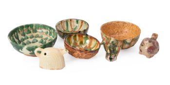 Three Chinese Sancai pottery bowls