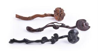 Three wooden ruyi sceptres