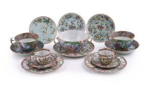An attractive Cantonese large tea cup and saucer
