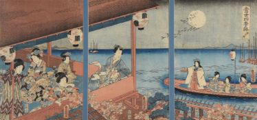 Utagawa Toyokuni III (1786-1864) A Woodblock Printed Triptych in inks and colours on paper depicting