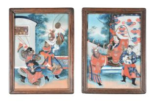 A pair of Chinese reverse glass paintings