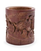 A Chinese carved bamboo brush vase