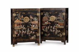 Y A pair of Chinese black lacquer and hardstone inlaid cabinets