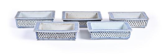 Four Chinese Blue and White double-walled shallow planters