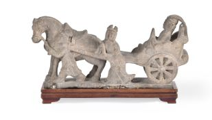 A Chinese stone 'chariot' group