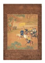 A Chinese painting on silk painting of court figures on horseback