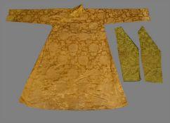 A Grand Tibetan chuba made of Chinese yellow brocade