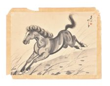 A Chinese painting of a galloping horse